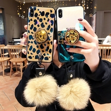 For Huawei Y9 2019 Case Cute fleck pattern soft TPU Silicone Cover 3D Luxury Diamond drill flower ring