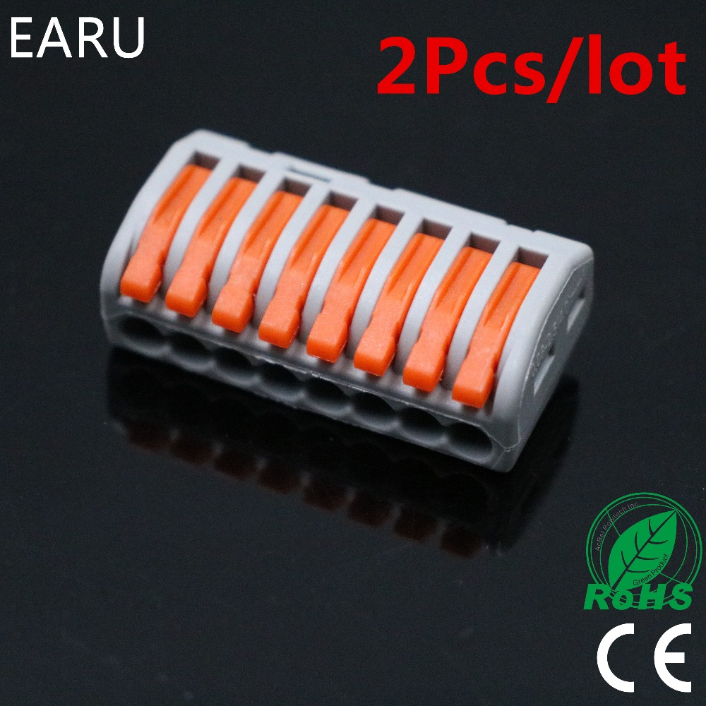 2Pcs PCT-218 PCT218 WAGO 222-418 Universal Compact Wire Wiring Connector Connectors 8 pin Conductor Terminal Block With Lever 10 pieces lot 222 413 universal compact wire wiring connector 3 pin conductor terminal block with lever awg 28 12