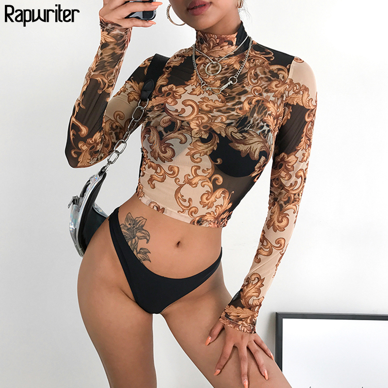 Rapwriter Casual See Through Top Women Sexy Shirt 2019 Spring Print Turtleneck  Elastic Transparent Basic Tops For Women Shirt Top