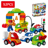52pcs My First Creative Cars Variety Of Car Story Big Size Building Blocks Minifigure Bricks Baby