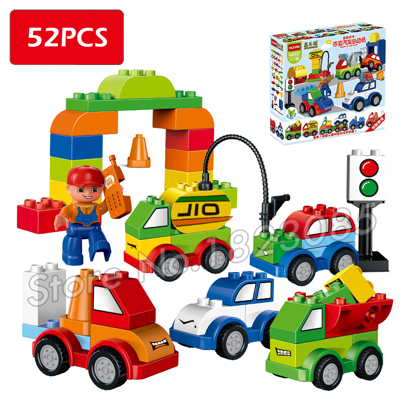 52pcs My First Creative Cars Variety of Car Story Big Size Building Blocks Bricks Baby Toy Compatible With Lego Duplo my first animals