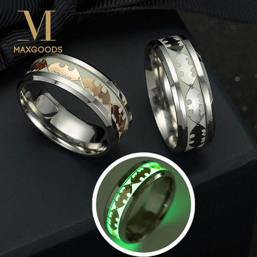Fashion Stainless Steel Batman Pattern Ring New Design  Luminous Band Ring Glow In The Dark for Couples  Man Jewelry Wholesale