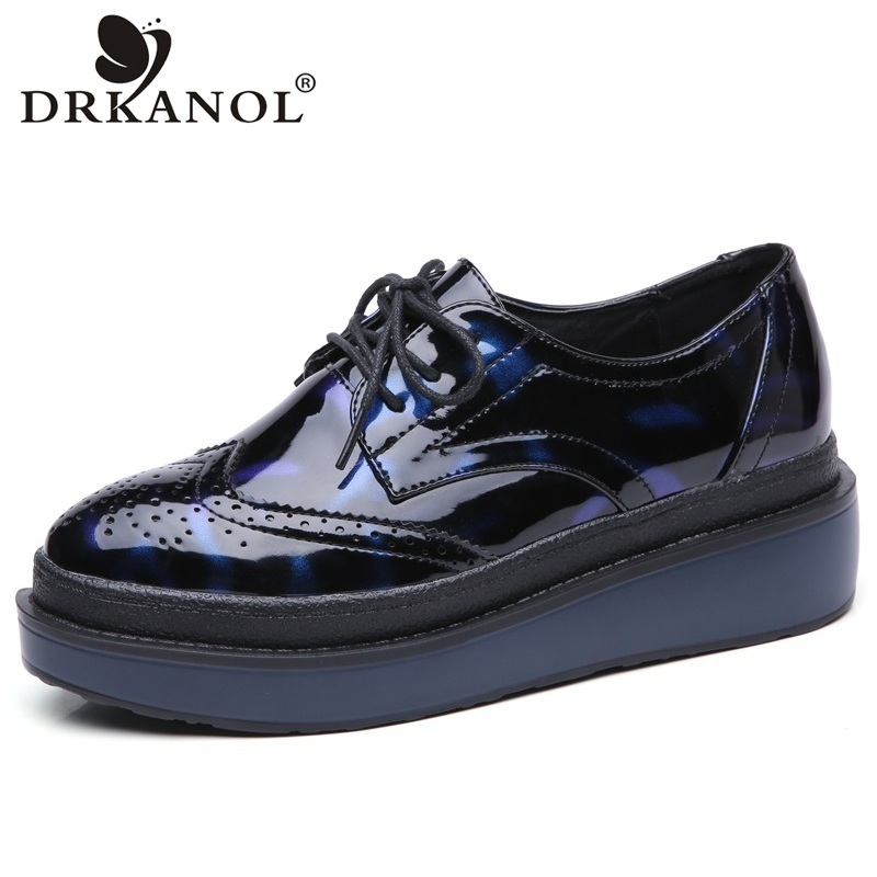 DRKANOL British Style Women Casual Shoes Carved Embossed Tide Brogue Flat Platform Shoes Lace Up Round Toe Women Oxford Shoes europe america fashion star cutout lace up high heel shoes for women square toe platform wedges brogue oxford casual shoes us 10