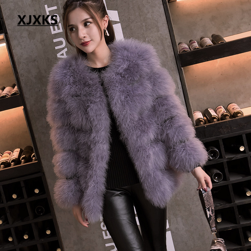 530167fef5d 2018 autumn and winter long section of thick round neck Slim thin ostrich  hair real Ostrich
