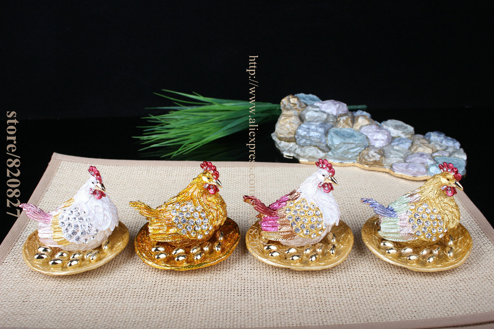 Collectible Trinket Box Chicken Home Decor Excellent Chicken & Eggs Jeweled Trinket Box ROOSTER Trinket/Ring Box