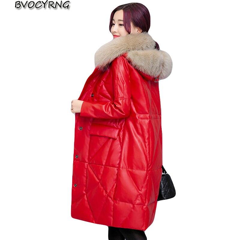 2018 Dicken Winter Mantel Frauen Leder Jacke High-end Faux Fuchs Pelz Kragen Mode Weibliche Oberbekleidung Winter Pu Leder Jacken Letzter Stil