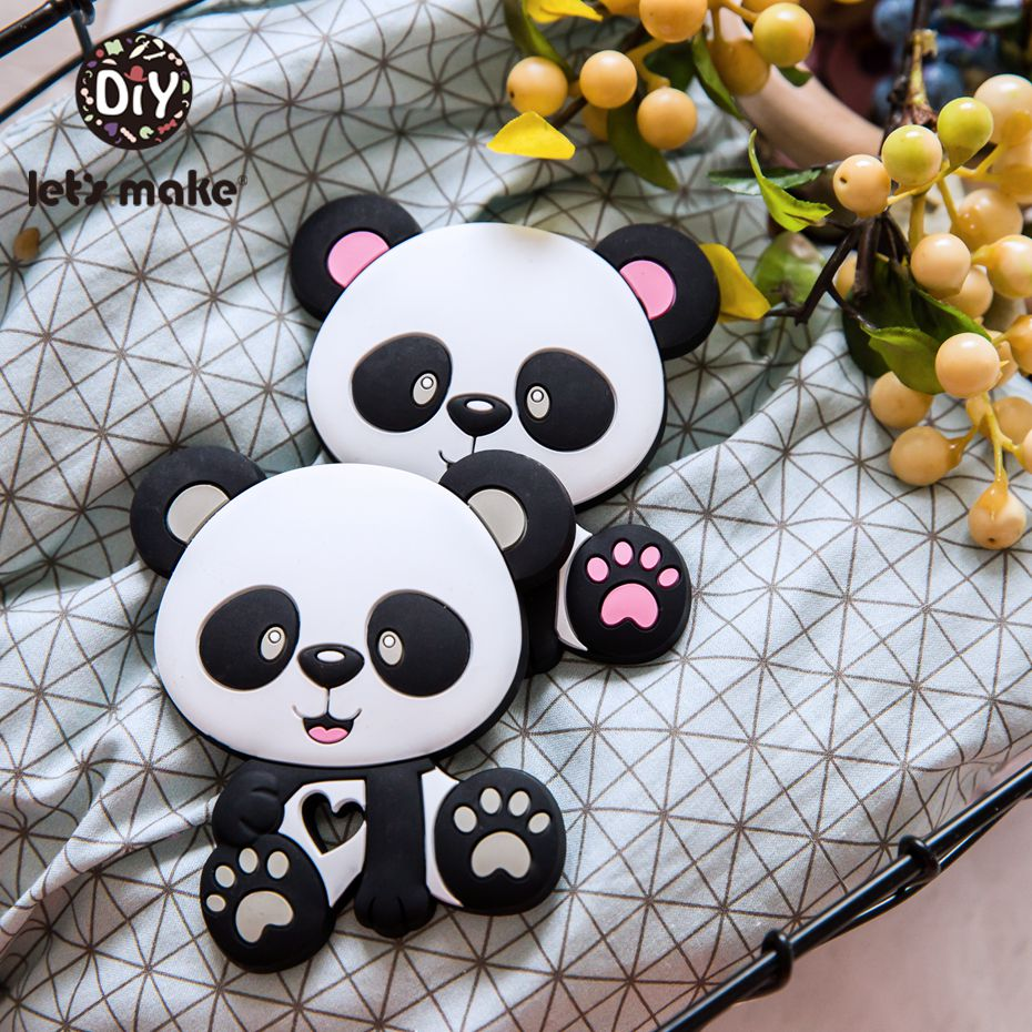 Let's Make 10pc Baby Teether Rodent Silicone Panda Beads DIY Pacifier Chain Necklaces Pendant Bite Chew Teething Toys
