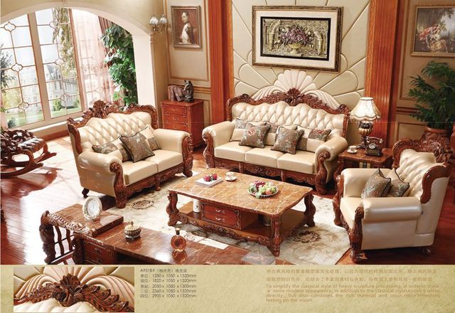 Turkish Brown And White Full Leather Sofa Set Solid Wood Furniture