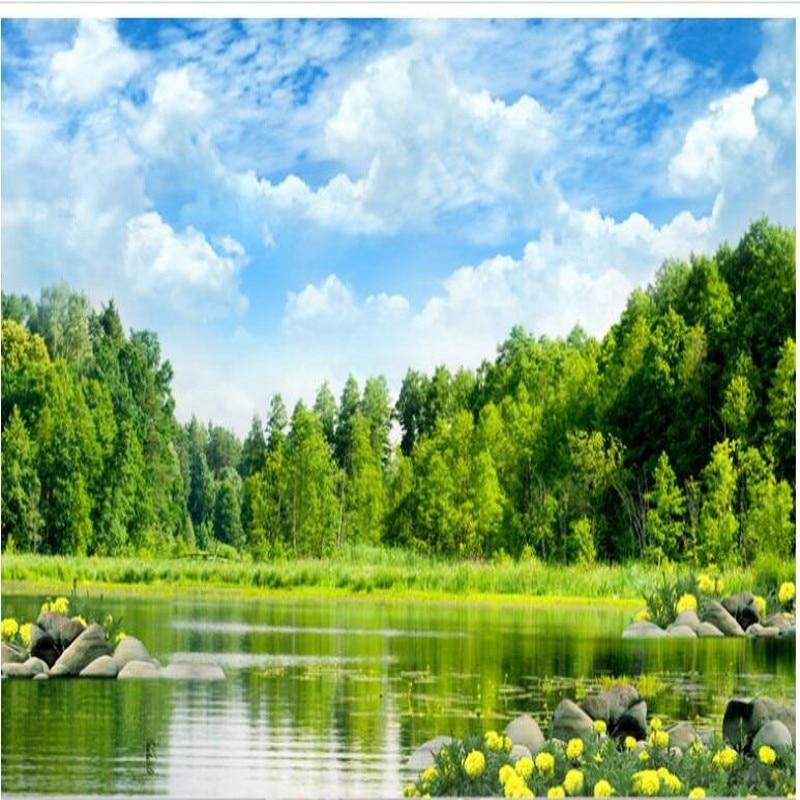 Wellyu Kustom Skala Besar Mural Pemandangan Indah Pemandangan Danau Wallpaper Wallpaper Papel De Parede untuk Quarto