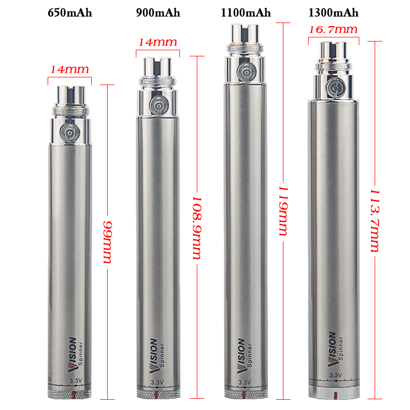 10pcs DHL Vision Spinner electronic cigarette 3.3-4.8V Variable Voltage VV battery 650/900/1100/1300mAh e cigs ego EVOD atomizer