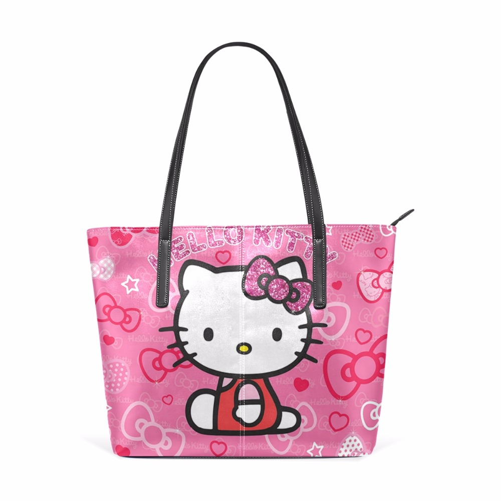 c970bc0d06b3 Women Top Handle Satchel Handbags Hello Kitty Shoulder Bag Messenger Tote  Bag Purse Cartoon Cute Cat Pu Leather Tote Shoulder