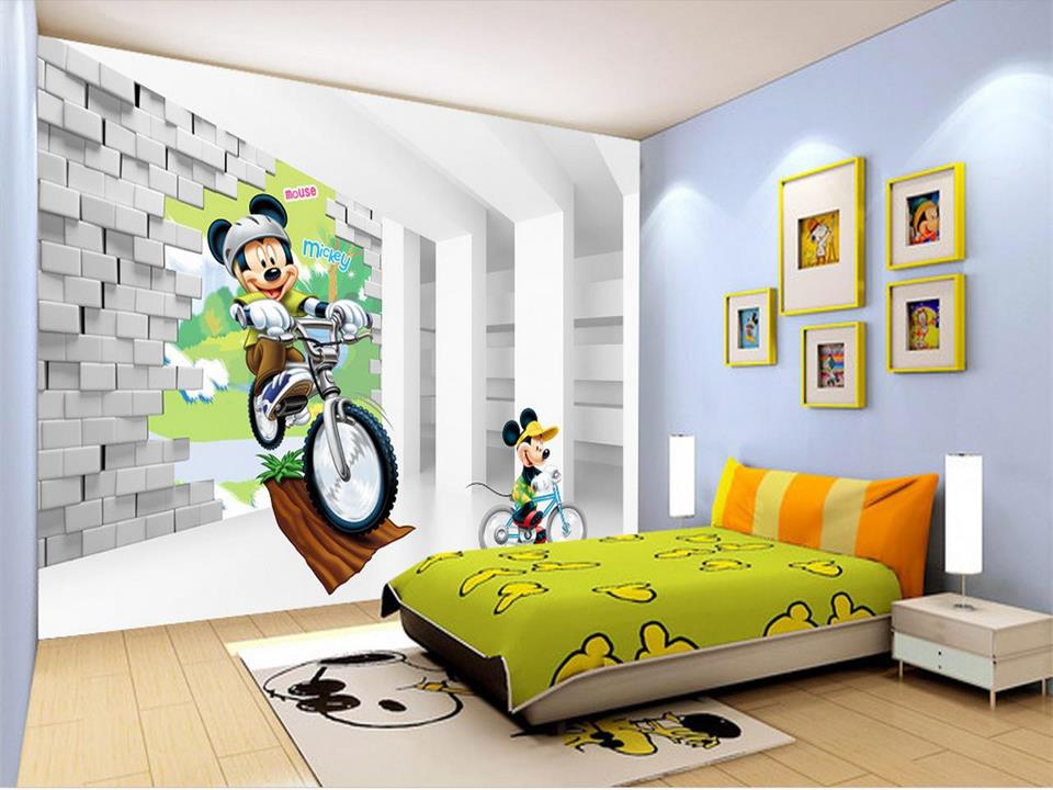 3d wallpaper custom photo mural kids room cartoon bike mickey brick painting TV sofa background non-woven wallpaper for wall 3d