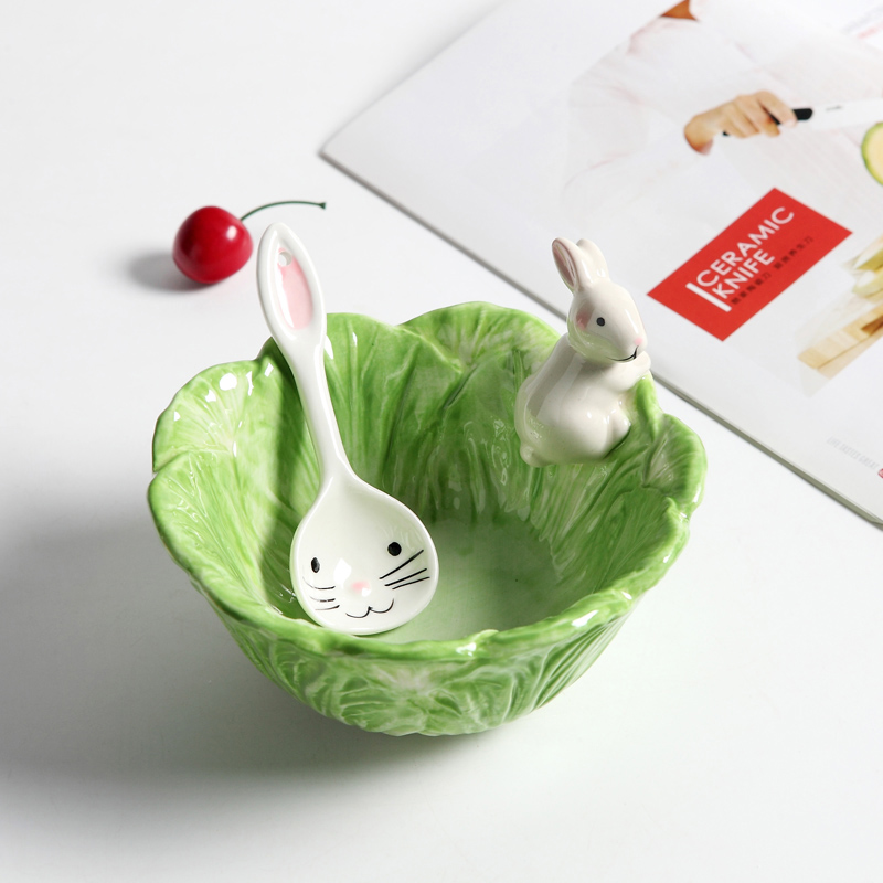Ceramic Cartoon Rabbits Bowl Cabbage-style Dishes Rabbits Plate Fruit Salad Bowl Tableware Home Party Decor Dining Supplies ...