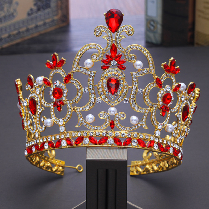 Bridal Tiaras and Crowns Gold Hair Crown Full Crystal Rhinestone Large Queen Crown for Women Wedding Hair Jewelry Accessories 00009 red gold bride wedding hair tiaras ancient chinese empress hair piece