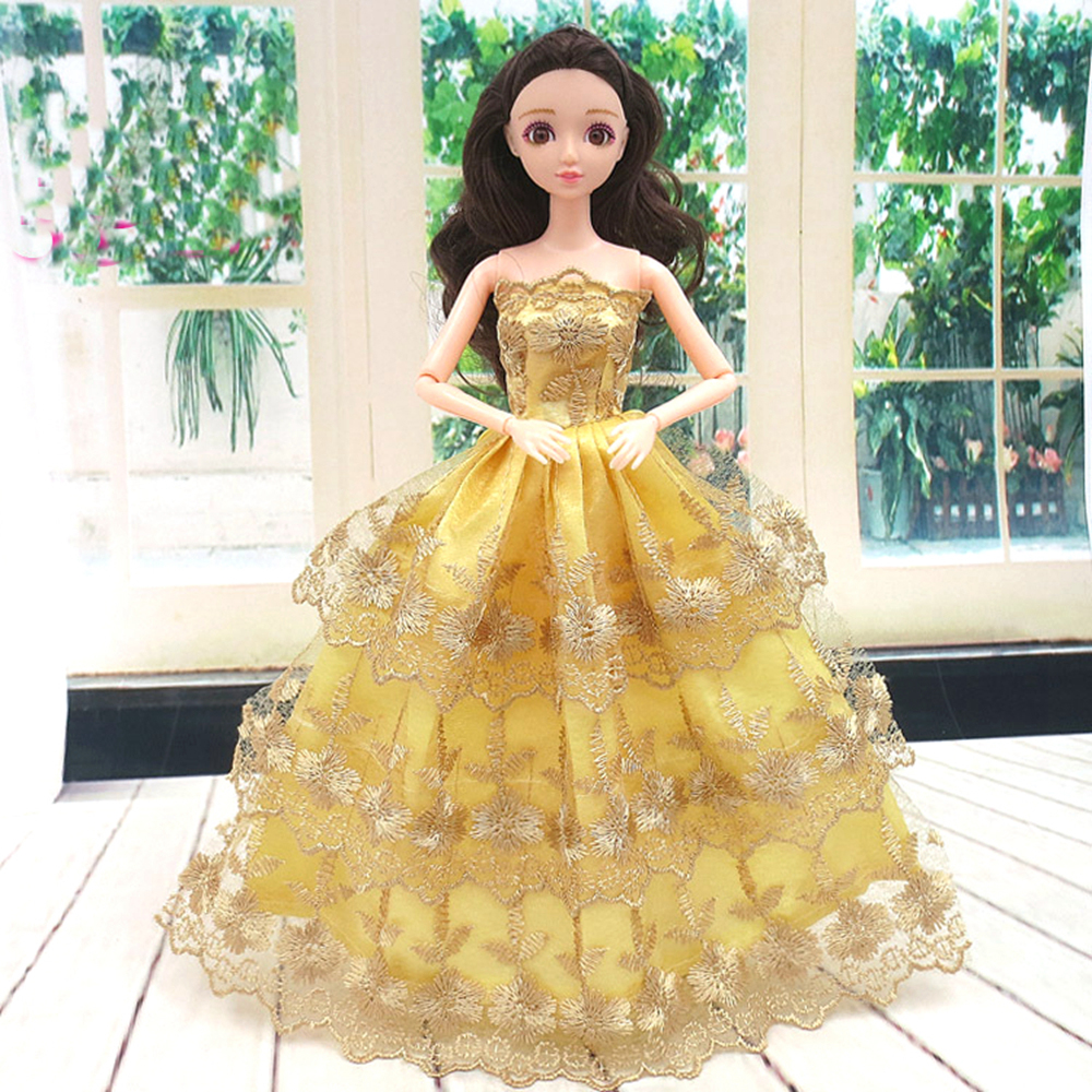 NK One Pcs Princess Doll New handmake wedding Dress Fashion Clothing Gown For Barbie Hot Dolls Accessories Best Gift 067E