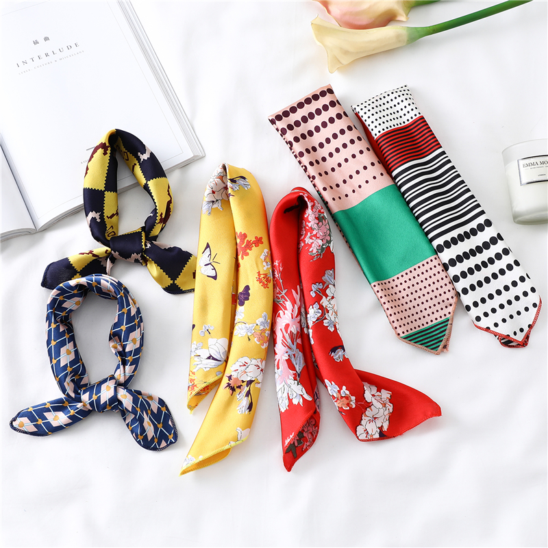 2020 Silk Square Scarf For Women Small Neck Scarves Print Foulard Hair Band Lady Bandana Scarfs Female Hand Kerchief