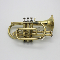 Brass Cornet for Students Gold Lacquer Trumpet Bb Tone Cornet Instruments