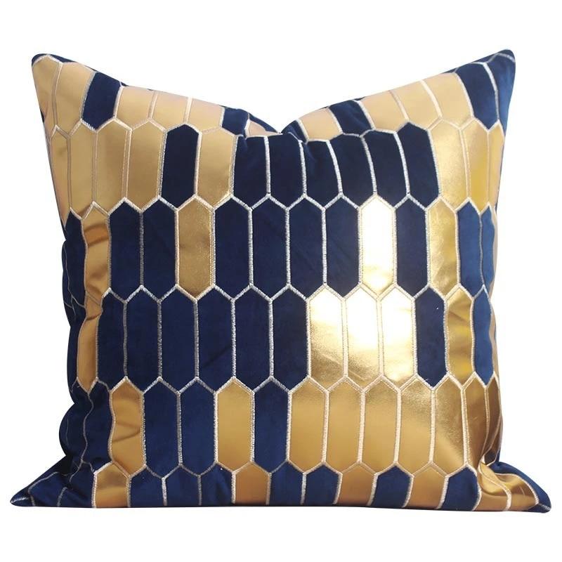 high quality emerald green velvet pillow case cushion cover dark blue gold foil pillow cover living room decorative cushion case