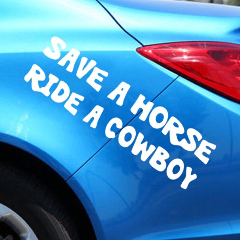 Сохранить лошадь ездить на ковбой Забавный Стикеры окна автомобиля грузовик личности автомобильные аксессуары Мотоциклетный шлем стайлин...