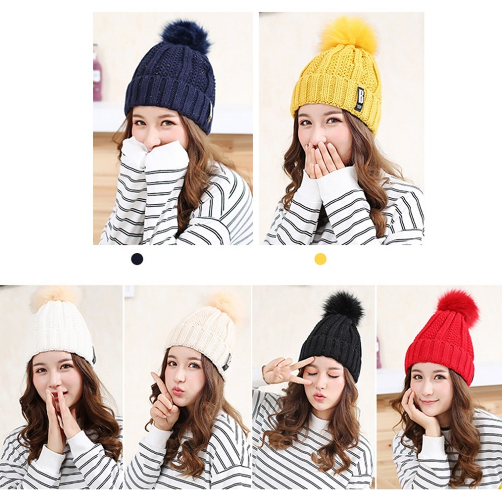 New Women Spring Autumn Winter Hats Beanies Knitted Cap Crochet Hat Ear Protecting Casual Solid Color Wool Cap 2016 Hot Sale