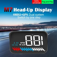 Car Head-up Display OBD Windshield Projector Digital Speed With Sun Hood Bracket GPS Speedometer Battery voltage Head Up Display autool x30 hud obd 2 head up display car gps speedometer headup obd2 projector headup smart digital auto universal display meter