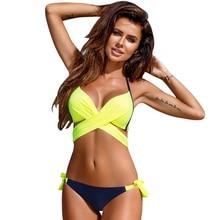 2019 Sexy Bikini Women Swimsuit Push Up Swimwear Criss Cross Bandage Halter Bikini Set Beach Bathing Suit Swim Wear XXL lace up tribal print criss cross bikini set