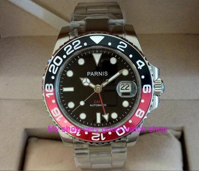 962081b6df2 40mm PARNIS relógio dos homens de Cristal de Safira GMT movimento máquinas  Automáticas Japonês Red