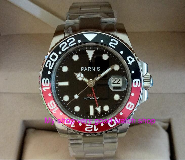 40mm PARNIS Sapphire Crystal Japanese GMT Automatic machinery movement men's watch Red&Black rotateing bezel 304A