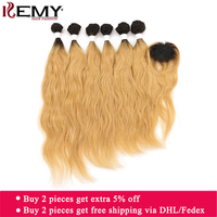 Ombre Brown Human Hair Bundles With Closure For Full Head KEMY HAIR Natural Wave Brazilian Hair Weaves Bundles Non Remy Hair