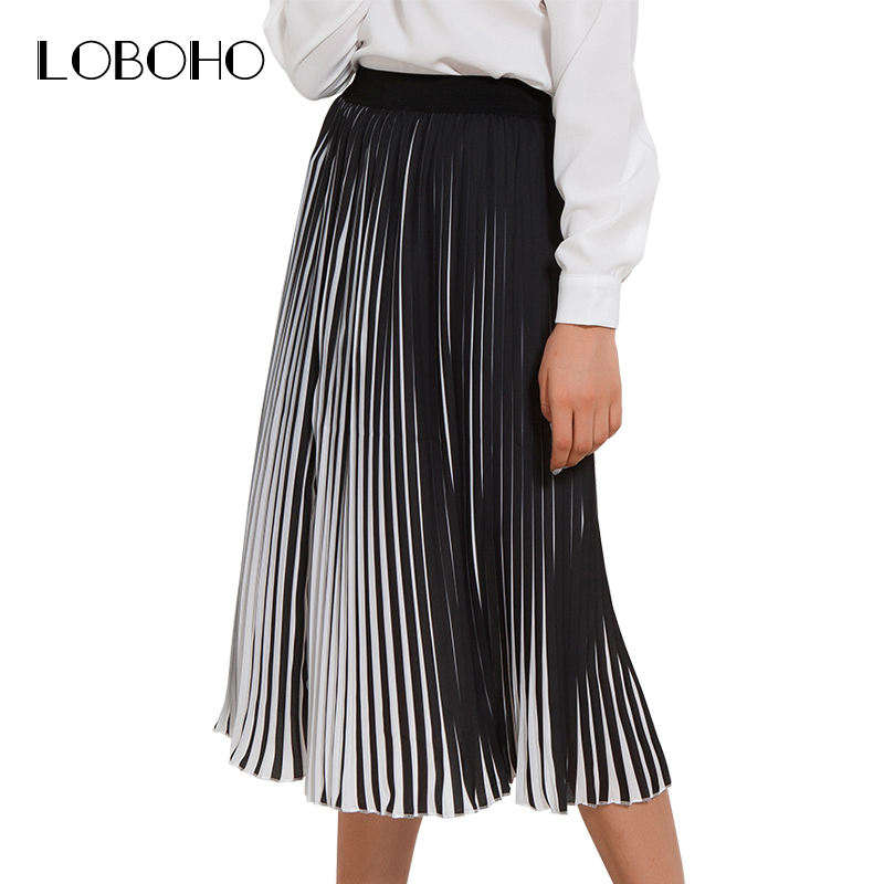 a7afc4d6f122 Casual Pleated Skirts Womens 2018 Summer New Fashion Chiffon Long Skirt  Black And White Striped Elastic High Waist Skirt Women