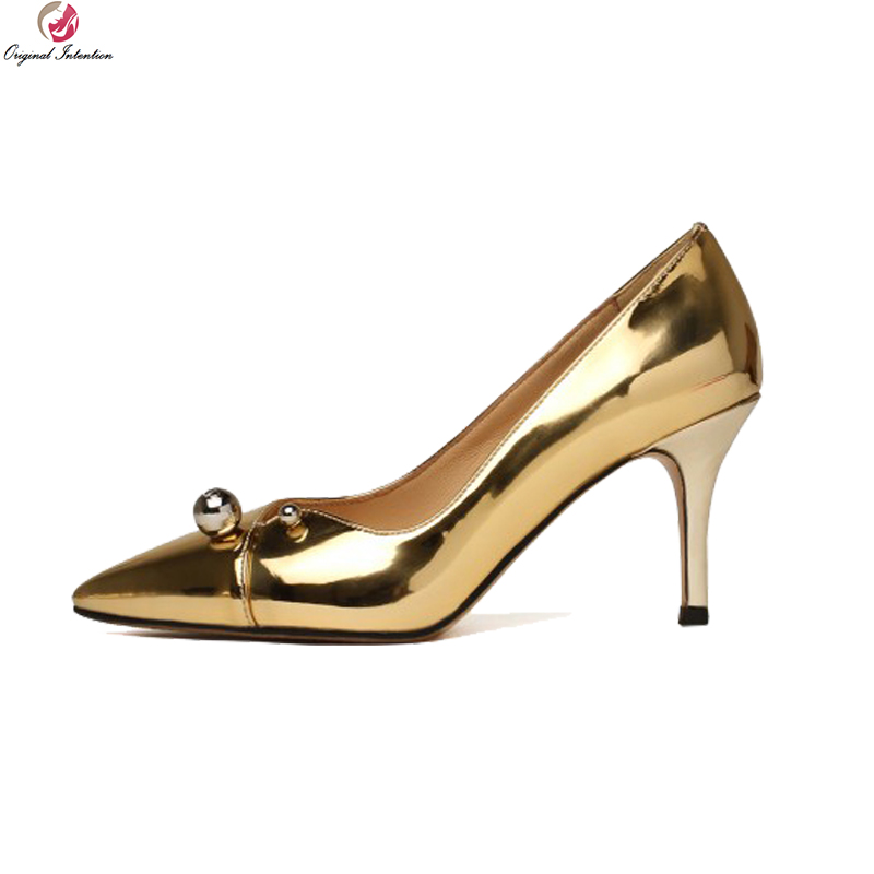 Original Intention Quality Women Pumps Leather/ Suede Pointed Toe Thin Heels Pumps Black Gold Silver Shoes Woman US Size 4-8.5 original intention luxurious women pumps rhinestones round toe square heels pumps fashion black silver shoes woman us size 4 8 5