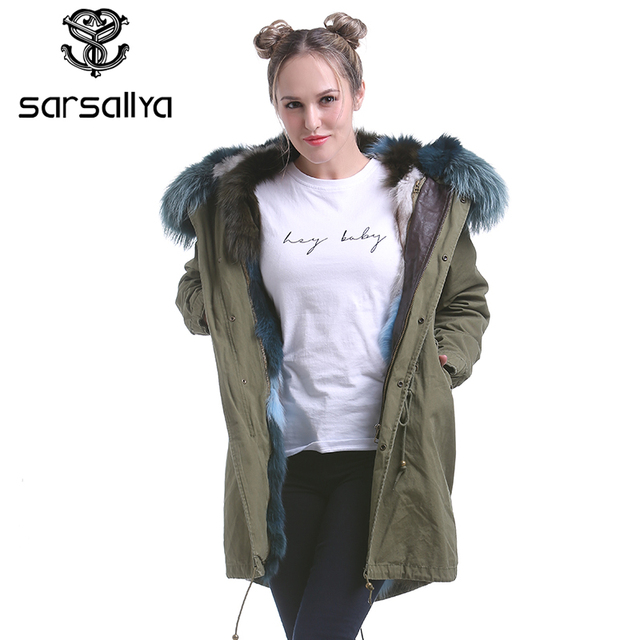 SARSALLYA real fox fur coat women's raccoon fur hooded coat parkas ...