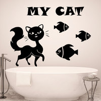 My Cat Art Designed Quotes Wall Decals With Cat Fish Silhouettes Cute Wall Murals Wall Sticker