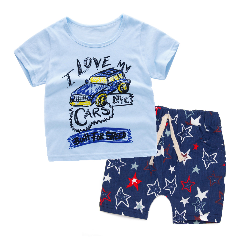 SOGNI KIDS summer casual star printing boys clothing sets clothes kids short sleeves T-shirt and shorts toddler baby boy clothes 017 summer baby boys clothing set kids clothes toddler boy short sleeved t shirts shorts girls clothing sets for kid