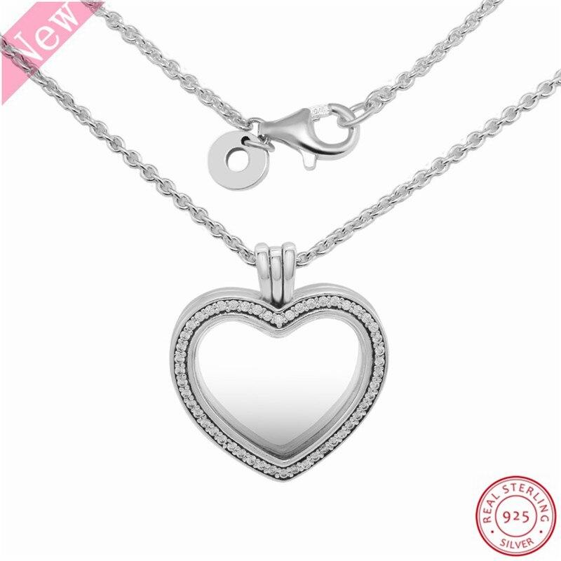 Image 2 - 60 cm moyen pierre clouté étincelant flottant coeur médaillon  pendentif colliers pour femmes bijoux en réel 925 argent Sterling  FLN069Colliers