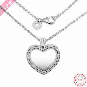 Image 2 - 60cm Medium Stone Studded Sparkling Floating Heart Locket Pendant Necklaces for Women Jewelry in Real 925 Sterling Silver FLN069