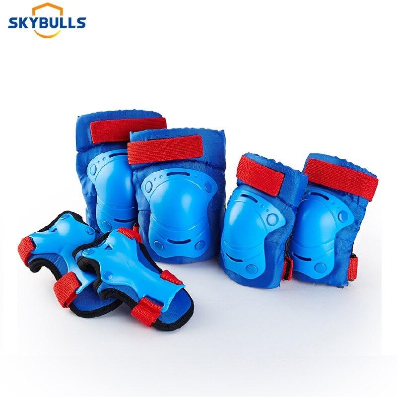 Skybulls 6 pçs/set Crianças Joelheiras Cotoveleiras Pulso Protetor de Bicicleta Skate Roller Skate Esportes Ao Ar Livre Set Equipamentos de Proteção