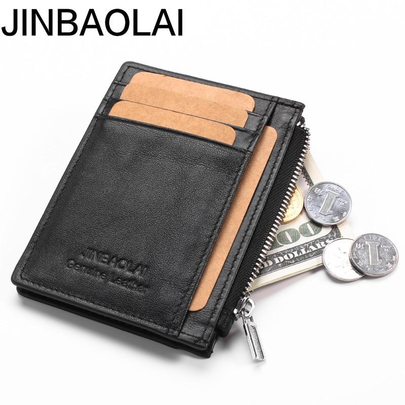Mini Genuine Leather Men Wallet Slim Men's Wallets Small Male Purse Card Holder Cow Leather Coin Pocket Men Wallet Zipper Pocket