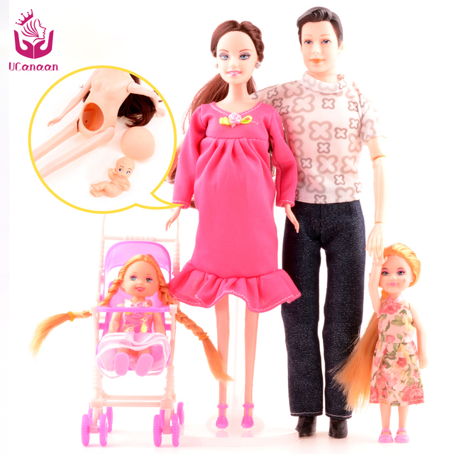 UCanaan Toys Family 5 People Dolls Suits 1 Mom /1 Dad /2 Little Kelly Girl /1 Baby Son/1 Baby Carriage Real Pregnant Doll Gifts