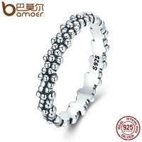 BAMOER Authentic 925 Sterling Silver Stackable Ring Daisies Flower Finger Rings For Women Sterling Silver Jewelry