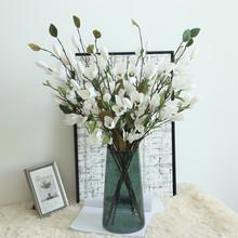 Dziewięć głowy magnolia podłoga sztuczne kwiaty sztuczne sztuczne kwiaty liść Magnolia kwiaty na ślub bukiet dekoracje na domowe przyjęcie D1 tanie tanio Party Orchidea Włóknin Bukiet kwiatów