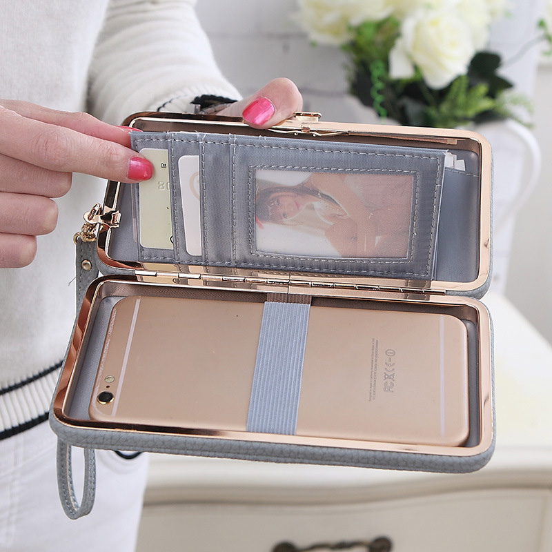 Everdoss Famous Brand Female Wallets Long Boxes Purse Super Capacity Mobile Wallet Multi Card With Lanyard Portefeuille Femme
