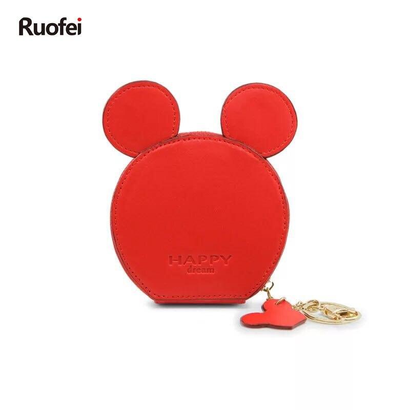 New design Mickey head wallets women wallets small cute cartoon kawaii card holder key chain money bags for girls ladie 2018