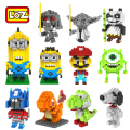 LOZ Building Blocks Toys Minion Super Mario Bros Yoshi Yoda Vader Pikachu Figure Blocks Assembling Toys 3D Blocks Model