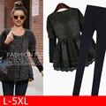 Fat MM Plus Size Vestuário 2016 jaqueta de inverno mulheres moda double breasted lace patchwork denim preto casaco outerwear L_5XL