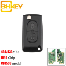BHKEY 2Buttons HU83 Blade Remote Key Suit for PEUGEOT 207 208 307 308 408 433MHz PCF7961 ID46 CE0536 Folding Key Fob keyyou car remote control key 2 buttons 433mhz for peugeot 207 307 car keyless fob pcf7961 chip hu83 blade