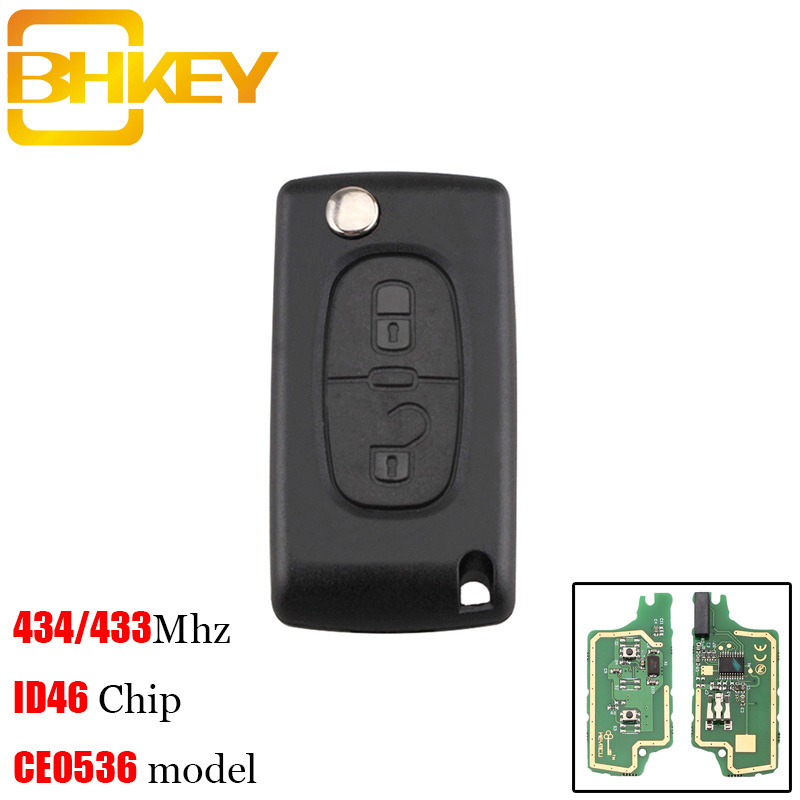 BHKEY 2Buttons HU83 Blade <font><b>Remote</b></font> <font><b>Key</b></font> Suit for <font><b>PEUGEOT</b></font> 207 <font><b>208</b></font> 307 308 408 433MHz PCF7961 ID46 CE0536 Folding <font><b>Key</b></font> Fob image