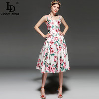 LD LINDA DELLA 2018 Fashion Designer Runway Summer Dress Women S Spaghetti Strap Backless Casual Elegant