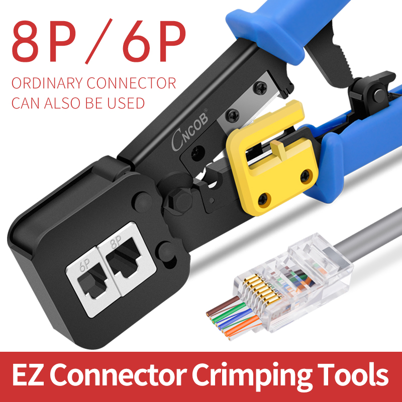 CNCOB EZ-RJ45 Crimp Tool For 6P/RJ11 And 8P/RJ45 Crimp, Cut, Strip Tool Multifunctional Crimp Tool For Phone Line Ethernet Cable