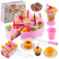 75Pcs DIY Kitchen Pretend Play Dishes Kid Toys Cutting Birthday Cake Model Food Cooking Toy Plastic